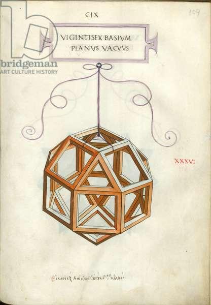 De divina proportione. Figure XXXVI, sheet 109 recto: Perpendicular empty body with twenty-six bases, rhombicuboctahedron, Vigintisex basivm planvs vacvvs