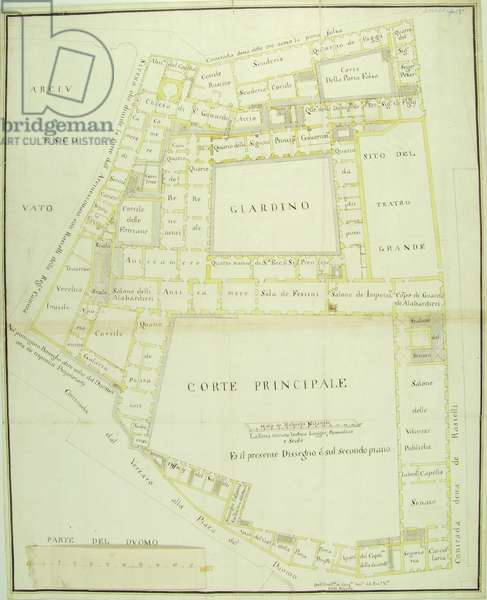 Piano nobile plan of the Royal Ducal Palace of Milan with information concerning theatre halls