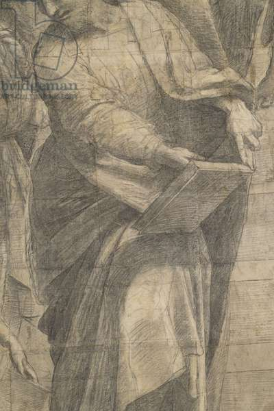 Parmenides or Aristoxenus, detail of preparatory cartoon for The School of Athens, 1510 (charcoal and white lead)