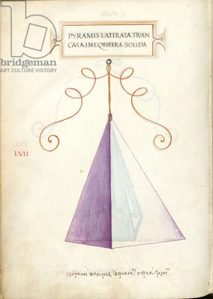 De Divina Proportione, Figure LVII, sheet 118 verso: Solid irregular polygonal triangular pyramid, Pyramis laterata triangvla inequilatera solida