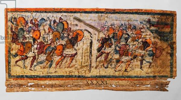 Hector breaking down the gate of the camps and Greeks running back to the ships