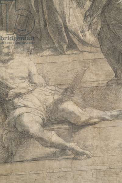Diogenes, detail of the preparatory cartoon for The School of Athens, 1510 (charcoal and white lead)