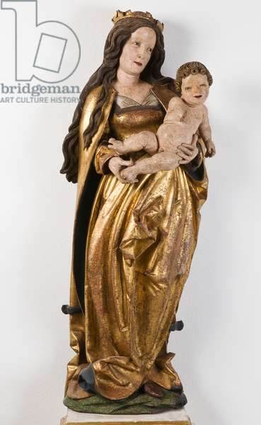 Madonna and Child, c.1520 (carved, painted & gilt wood)