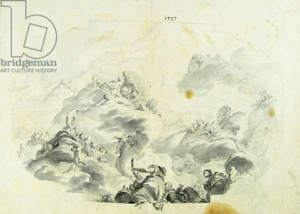Drawing for an intrados: Olympic Scene with Jupiter and Juno's wedding