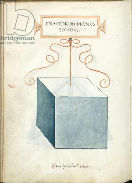 De Divina Proportione, Figure VII, sheet 94 verso: Perpendicular solid hexahedron, cube, Exacedron planvs solidvs