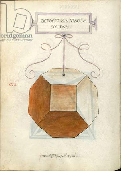 De Divina Proportione, Figure XVII, sheet 99 verso: Cut solid octahedron, Octocedron abscisvs solidvs