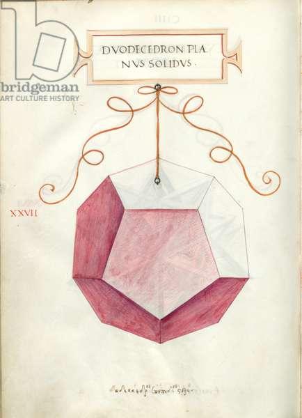 De Divina Proportione, Figure XXVII, sheet 104 verso: Perpendicular solid dodecahedron, Dvodecedron planvs solidvs
