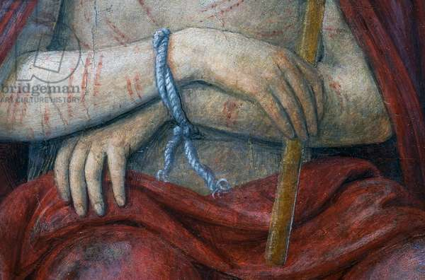The tied hands of Jesus, detail from Christ Crowned with Thorns, 1522 (fresco)