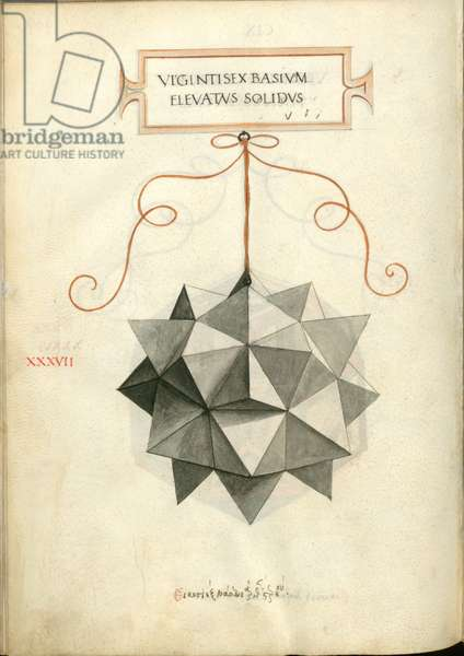 De Divina Proportione, Figure XXXVII, sheet 109 verso: Elevated solid body with twenty-six bases, rhombicuboctahedron, Vigintisex basivm elevatvs solidvs