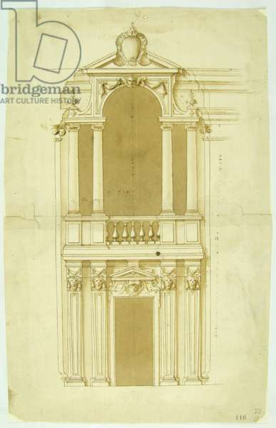 Drawing of a facade with Serlian and portal