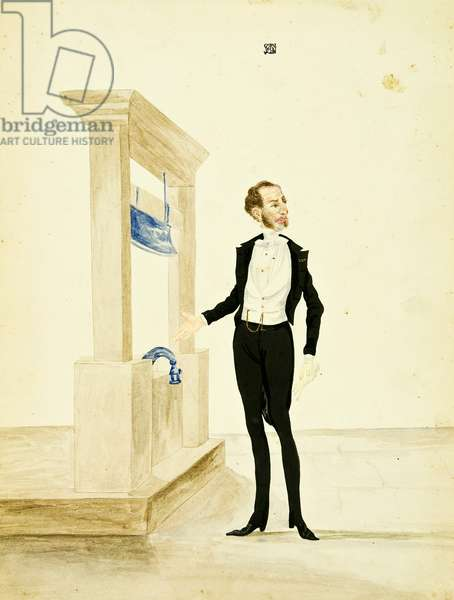 Man in Elegant Suit Standing Before a Guillotine