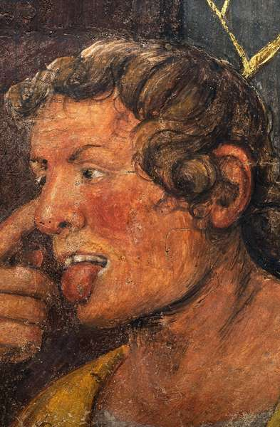 The face of one of the henchmen, detail from Christ Crowned with Thorns, 1522 (fresco)