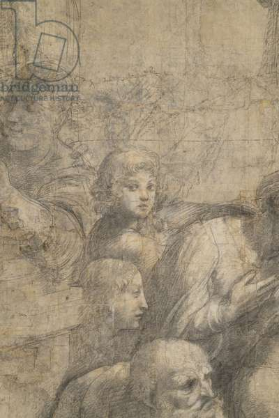 Epicuro or Empedocle, Federico II Gonzaga Duke of Mantua and Anicius Manlius Severinus Boethius or Anaximander or Aristoxenu, detail of the preparatory cartoon for The School of Athens, 1510 (charcoal and white lead)