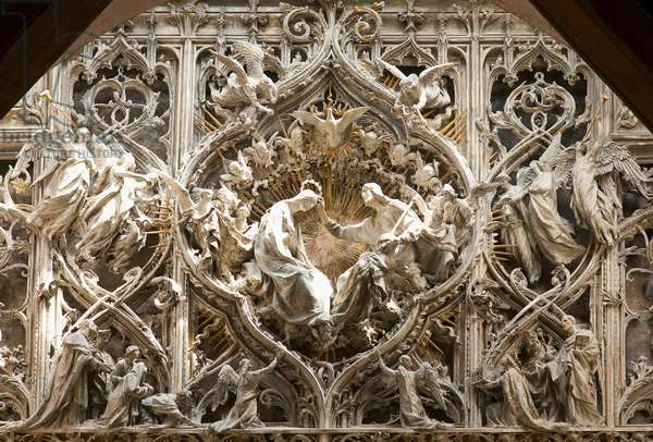 Crowning of the Virgin, detail from original plaster model of central portal of Milan Cathedral, 1895-1906  (plaster)