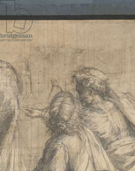 Group of Plato's Students, detail of the preparatory cartoon for The School of Athens, 1510 (charcoal and white lead)