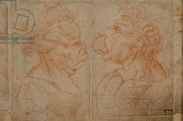 Grotesque Female Head, Grotesque Male Head