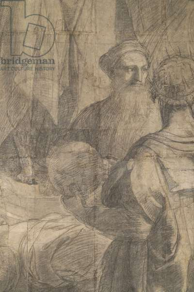 Tolomeo and Zoroaster, detail of the preparatory cartoon for The School of Athens, 1510 (charcoal and white lead)
