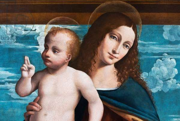 Madonna and Child, detail from The Madonna and Child with Saint John the Evangelist and Saint John the Baptist, 1510-20 (oil on panel)
