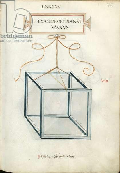 De Divina Proportione, Figure VIII, sheet 95 recto: Perpendicular empty hexahedron, cube, Exacedron planvs vacvvs