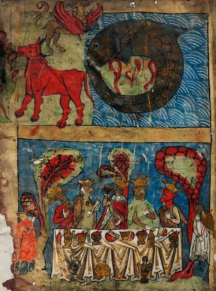 Miniature showing Behemoth, Ziz, Leviathan and Eschatological feast, c.1236 (vellum)