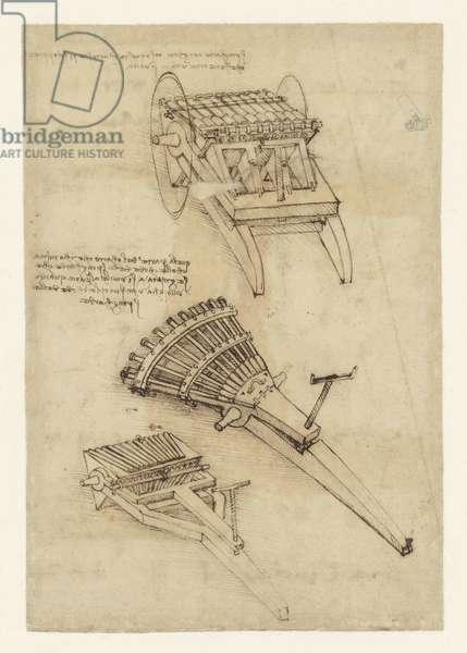 Cart and weapons from Atlantic Codex (Codex Atlanticus) by Leonardo da Vinci, folio 157 recto