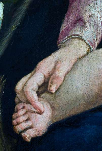 Hand of the Madonna on the leg of the Child Jesus, detail from The Rest on the Flight into Egypt, 1547 (oil on canvas)