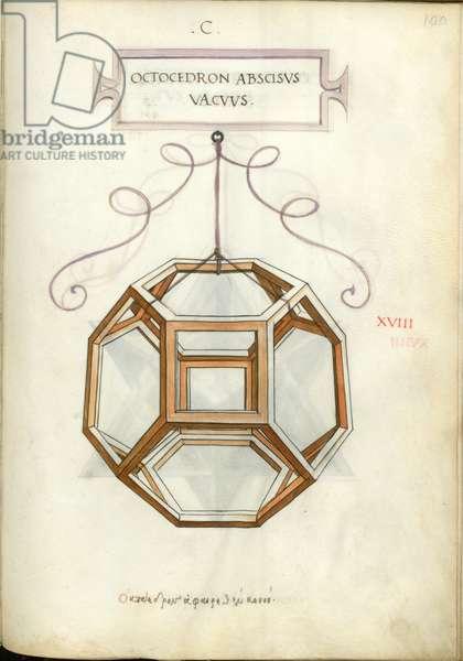 De Divina Proportione, Figure XVIII, sheet 100 recto: Cut empty octahedron, Octocedron abscisvs vacvvs