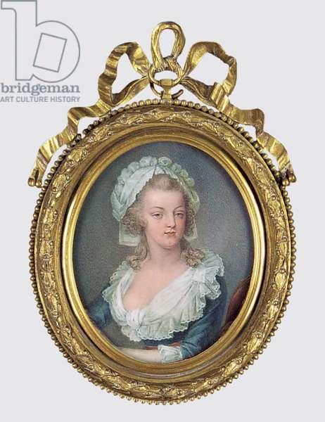 Portrait of Marie Antoinette (w/c & gouache on ivory)