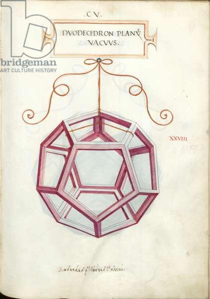 De Divina Proportione, Figure XXVIII, sheet 105 recto: Perpendicular empty dodecahedron, Dvodecedron planvs vacvvs