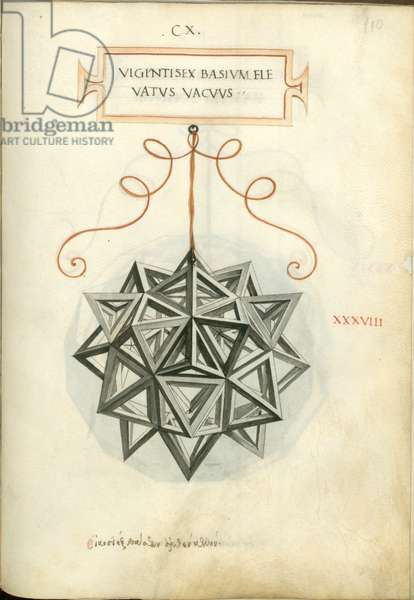 De Divina Proportione, Figure XXXVIII, sheet 110 recto: Elevated empty body with twenty-six bases, rhombicuboctahedron, Vigintisex basivm elevatvs vacvvs