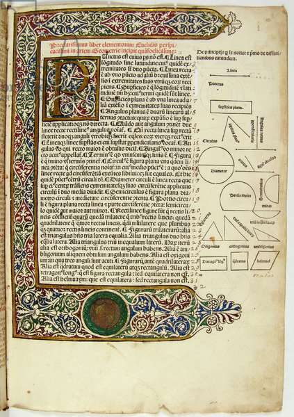 Illuminated page with initial from Euclid's Elementa geometriae
