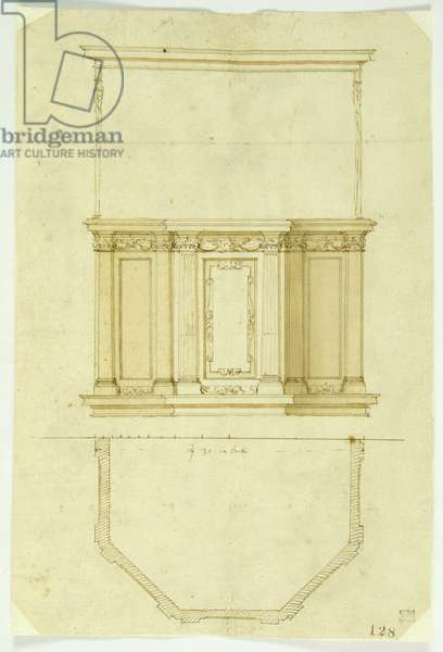Drawing of a pulpit