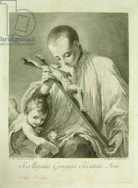 Saint Aloysius Gonzaga and an Angel Worshipping the Crucifix