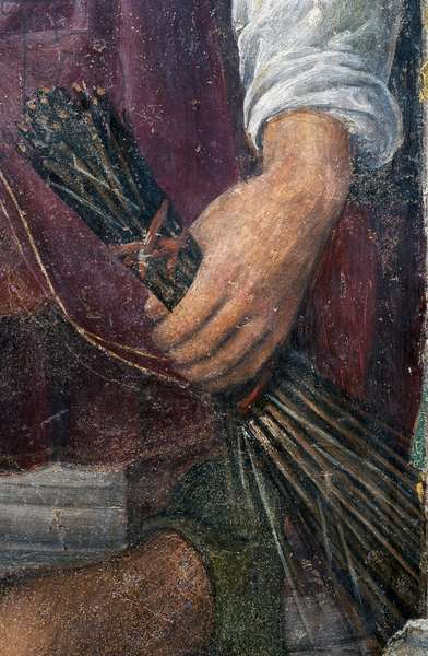 The hand of one of the henchmen, detail from Christ Crowned with Thorns, 1522 (fresco)
