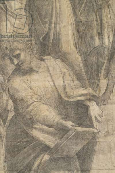 Parmenis or Aristoxenus, detail of the preparatory cartoon for The School of Athens, 1510 (charcoal and white lead)
