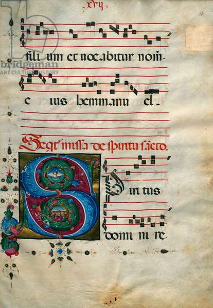 Illuminated page with initial
