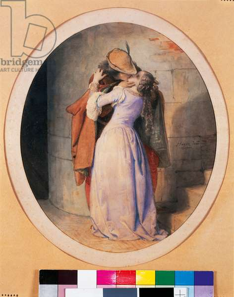 The Kiss, 1859 (w/c on paper)