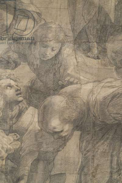 Euclid or Archimedes (Bramante) surrounded by people interested in geometry, detail ofthe preparatory cartoon for The School of Athens, 1510 (charcoal and white lead)