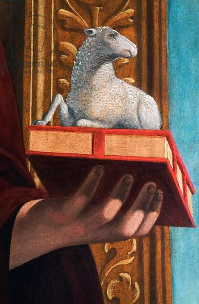 Lamb of God, detail from The Madonna and Child with Saint John the Evangelist and Saint John the Baptist, 1510-20 (oil on panel)