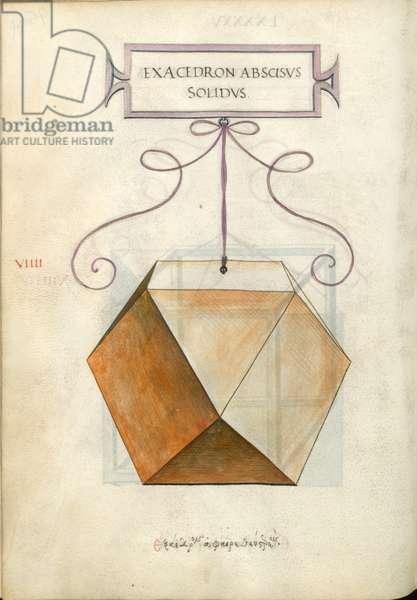 De Divina Proportione, Figure VIIII, sheet 95 verso: Cut solid hexahedron, cube, Exacedron abscisvs solidvs