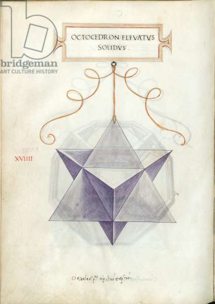 De Divina Proportione, Figure XVIIII, sheet 100 verso: Elevated solid octahedron, Octocedron elevatvs solidvs