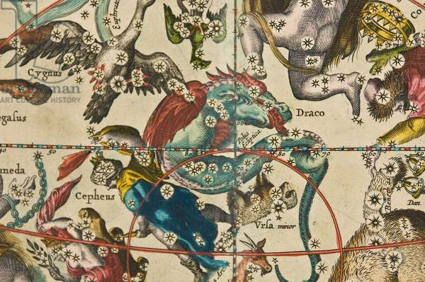 Detail from Harmonia Macrocosmica Showing Constellations of the Celestial Northern Hemisphere, 1660 (hand coloured engraving)