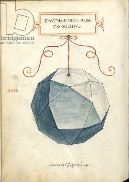 De Divina Proportione, Figure XXIX, sheet 105 verso: Cut solid dodecahedron, Dvodecedron abscisvs solidvs
