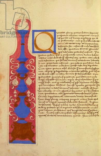 Illuminated page with initial from De prospectiva pingendi