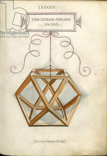De Divina Proportione, Figure X, sheet 96 recto: Cut empty hexahedron, cube, Exacedron abscisvs vacvvs