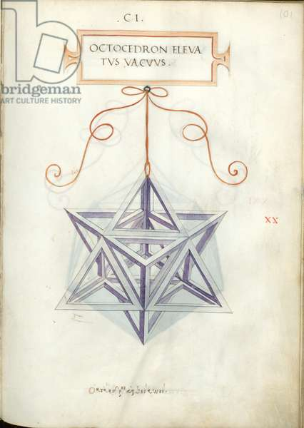 De Divina Proportione, Figure XX, sheet 101 recto: Elevated empty octahedron, Octocedron elevatvs vacvvs