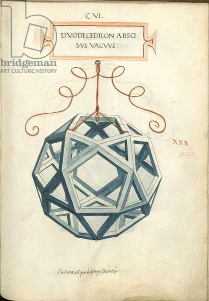 De Divina Proportione, Figure XXX, sheet 106 recto: Cut empty dodecahedron, Dvodecedron abscisvs vacvvs