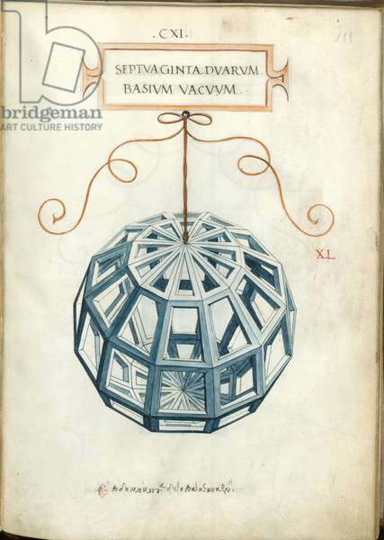 De divina proportione, Figure XL, sheet 111 recto: Empty body with seventy-two bases, Septvaginta dvarvm basivm vacvvm