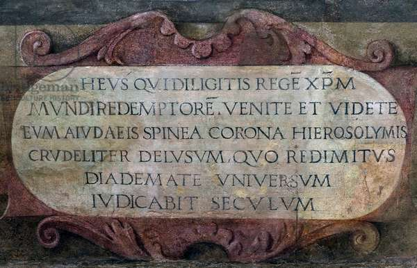 Latin inscription, detail from Christ Crowned with Thorns, 1522 (fresco)