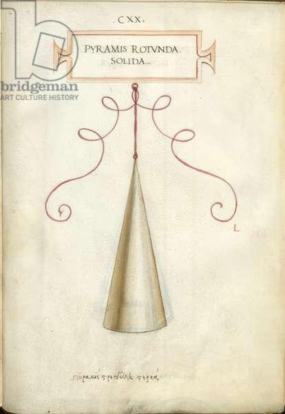 De Divina Proportione, Figure L, sheet 120 recto: Solid round pyramid, cone, Pyramis rotvnda solida
